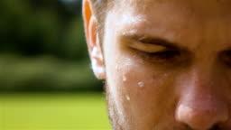 Sweaty man outdoor in park