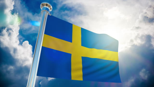 4k sweden flag - loopable stock video - swedish flag stock videos and b-roll footage