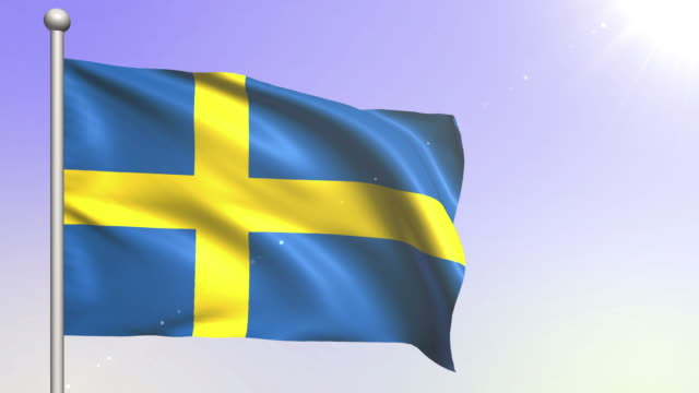 sweden flag (loopable) - swedish flag stock videos and b-roll footage