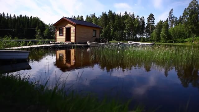 Sweden, house, lake