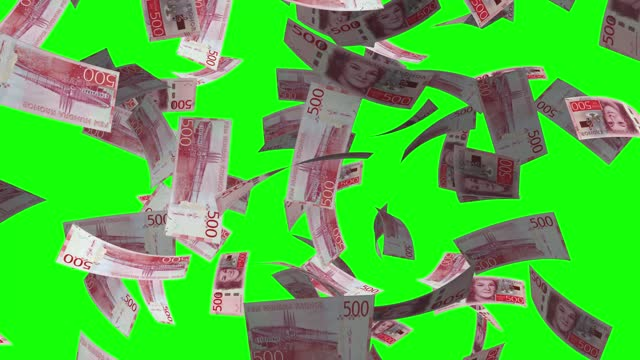 stockvideo's en b-roll-footage met 500 zweden krone, rainig geld groen scherm chroma key achtergrond 4k stock video - capital letter