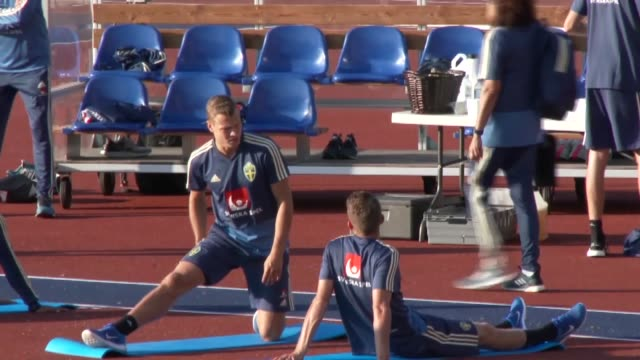 Sweden national football team players attend a training session led by head coach Janne Andersson at Stockholm Olympic Stadium ahead of the UEFA...