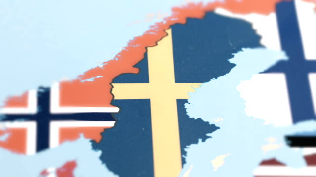 sweden with national flag on world map - svezia video stock e b–roll