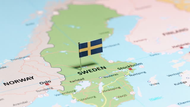sweden with national flag - map stock videos & royalty-free footage