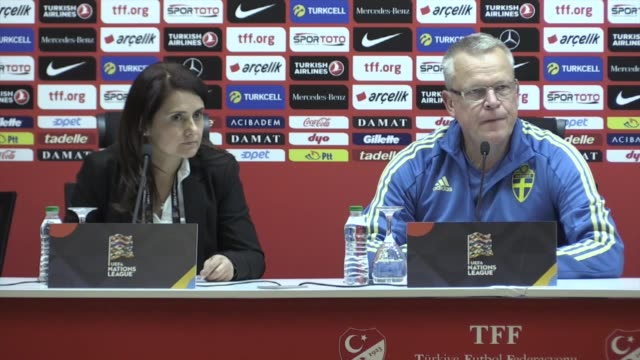 Sweden's head coach Janne Andersson holds a press conference following the UEFA Nations League B Group 2 football match between Turkey and Sweden at...