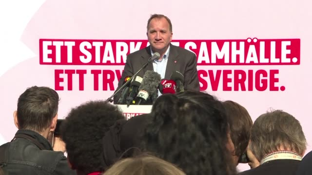 Sweden's left wing Prime Minister Stefan Lofven campaigns in Stockholm ahead of a general election on Sunday