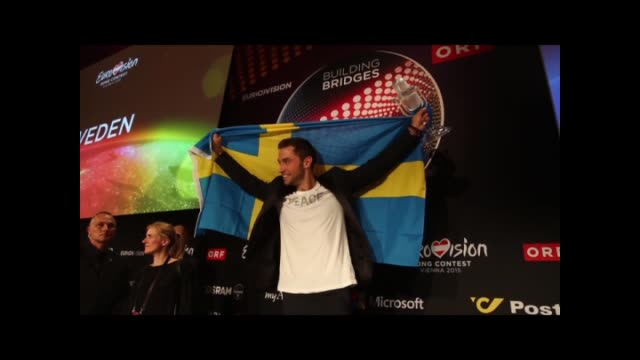 sweden's mans zelmerlow speaks to the media during the press conference after winning the eurovision song contest final early on may 24 2015 in... - eurovision song contest stock videos & royalty-free footage