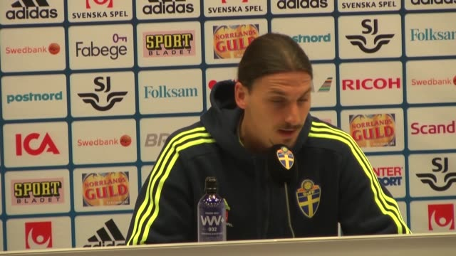 Sweden's national football team forward and team captain Zlatan Ibrahimovic attends a press conference at Friends Arena in Solna near Stockholm on...