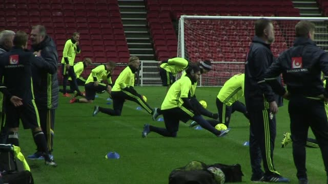 swedens national football team trained on monday in copenhagen ahead of tuesdays euro 2016 play off against denmark - oresund region stock videos and b-roll footage