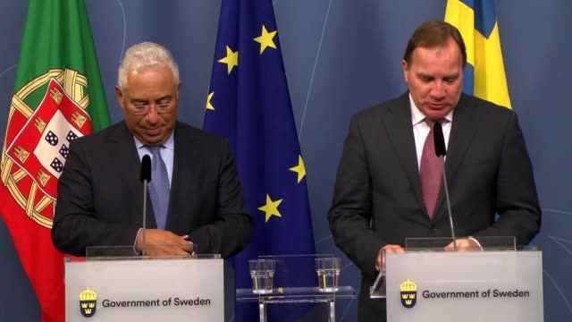 Sweden's Prime Minister Stefan Lofven holds a joint news conference with his counterpart Antonio Costa of Portugal following their meeting at the...