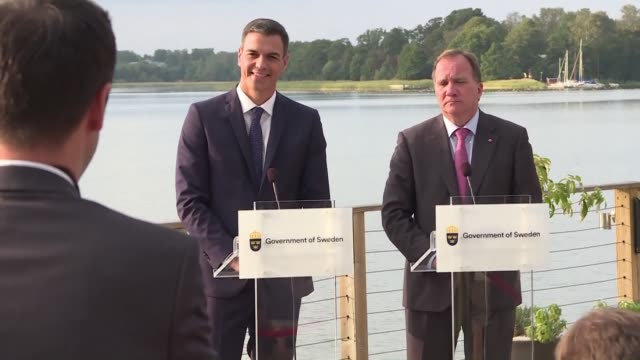 Sweden's Prime Minister Stefan Lofven meets his Spanish counterpart Pedro Sanchez ahead of Swedish legislative elections