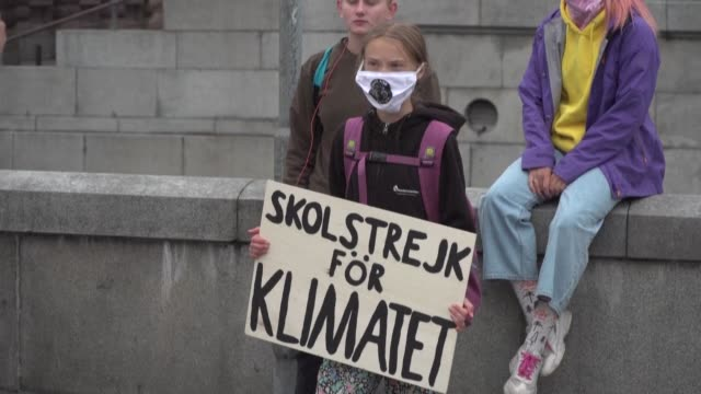 vídeos y material grabado en eventos de stock de swedish climate activist greta thunberg attends a short school strike for the climate outside the country's parliament in central stockholm - environmental issues