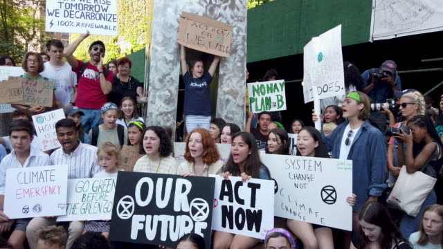 swedish climate activist greta thunberg attends a youth led protest in front of the united nations in support of measures to stop climate change on... - climate activist stock videos & royalty-free footage