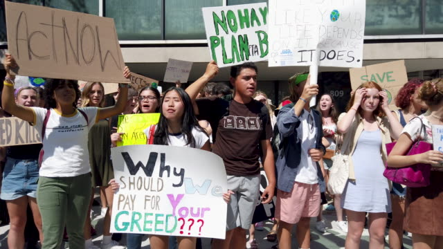 swedish climate activist greta thunberg attends a youth led protest in front of the united nations in support of measures to stop climate change on... - united nations stock videos & royalty-free footage