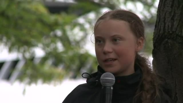 swedish climate activist greta thunberg says the amazon fires are a clear sign we need to stop destroying nature after sailing into new york... - climate activist stock videos & royalty-free footage