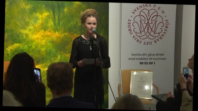 swedish culture minister amanda lind awards a swedish pen rights prize to detained chinese swedish book publisher gui minhai while china threatened... - swedish culture stock videos & royalty-free footage