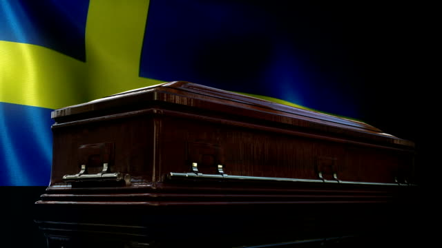 swedish flag behind coffin - swedish flag stock videos and b-roll footage