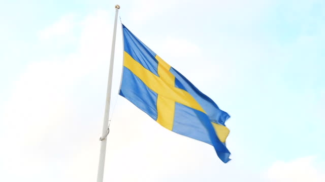 swedish flag flying in the wind - swedish flag stock videos and b-roll footage