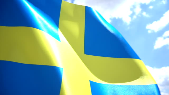 swedish flag high detail - swedish flag stock videos and b-roll footage