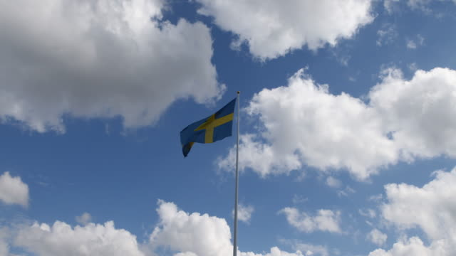 swedish flag in the wind in varberg, sweden - swedish flag stock videos and b-roll footage