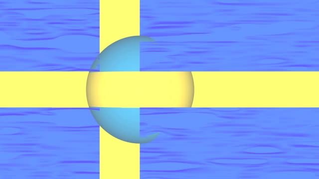swedish flag with sphere part - swedish flag stock videos and b-roll footage