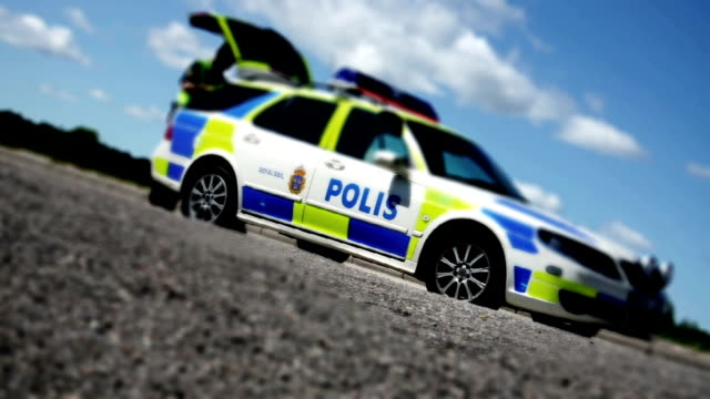swedish police car - svensk polis bil - police car stock videos & royalty-free footage