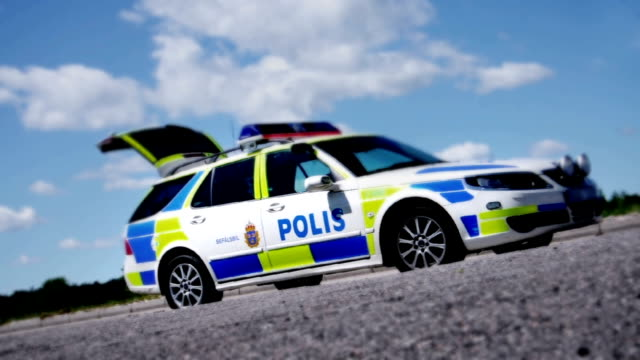 swedish police car - svensk polis bil - sweden stock videos & royalty-free footage