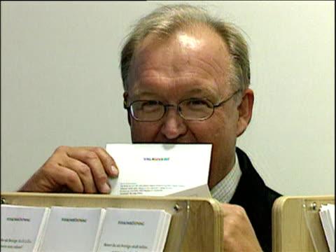 swedish prime minister goran persson seals postal vote for euro referendum stockholm 09 sep 03 - 2003 bildbanksvideor och videomaterial från bakom kulisserna