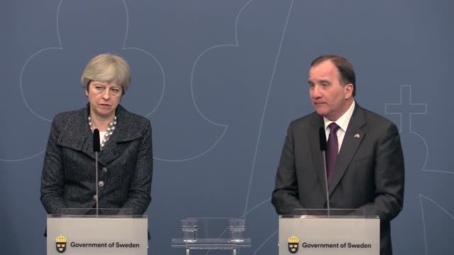 Swedish Prime Minister Stefan Lofven and British Prime Minister Theresa May hold a press conference following their meeting at the Rosenbad building...