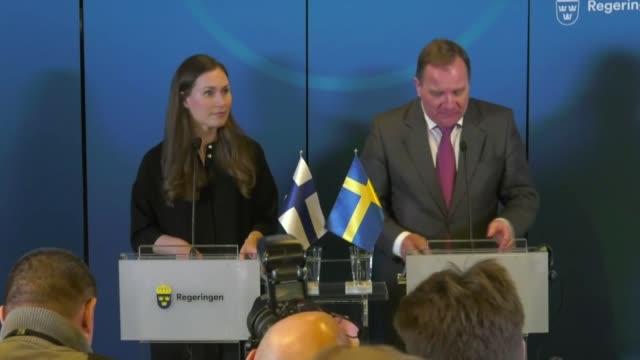 swedish prime minister stefan lofven and finnish prime minister sanna marin attend a joint press conference following their meeting in harpsund,... - prime minister bildbanksvideor och videomaterial från bakom kulisserna