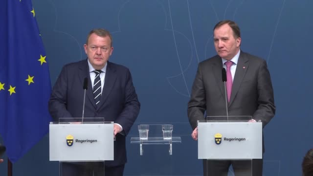 Swedish Prime Minister Stefan Lofven and his Danish counterpart Lars Lokke Rasmussen discuss financial regulation at a press conference after the two...