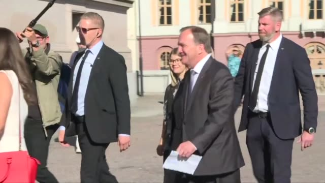 swedish prime minister stefan lofven arrives at a polling station to cast his vote in legislative elections with the far right expected to notch up a... - prime minister video stock e b–roll