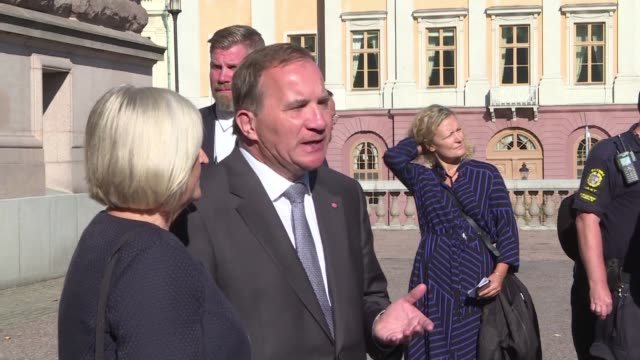 Swedish Prime Minister Stefan Lofven arrives at a polling station to cast his vote in legislative elections with the far right expected to notch up a...
