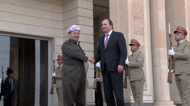 Swedish Prime Minister Stefan Lofven meets with President of the Iraqi Kurdistan Region Masoud Barzani at the presidential palace in Erbil the...