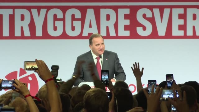 Swedish Prime Minister Stefan Lofven speaks to his Social Democrats supporters after the country's legislative elections with both left wing and...