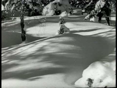 stockvideo's en b-roll-footage met swedish sentry standing snow hills bg ms soldiers crawling through snow vs soldiers moving on skis taking cover in snow ms crawling pushing artillery... - 1949
