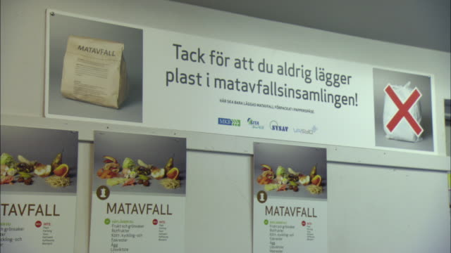 ms swedish sign explaining what to throw away and what to recycle in recycling room / malmo, sweden - poster stock-videos und b-roll-filmmaterial