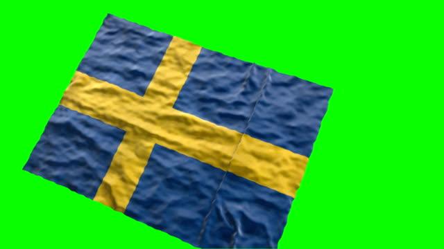 swedish stadium flag. waving on green screen - royalty stock videos and b-roll footage
