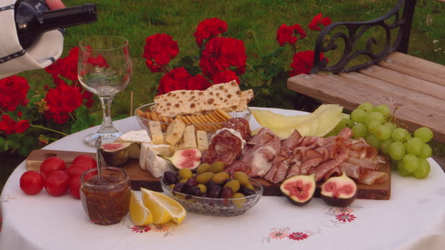 swedish style fusion antipasti with charcuteries and cheeses - black olive stock videos & royalty-free footage