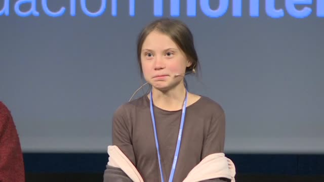 swedish teenage climate activist greta thunberg speaks at a press conference before participating in the climate march in madrid - press conference stock videos & royalty-free footage