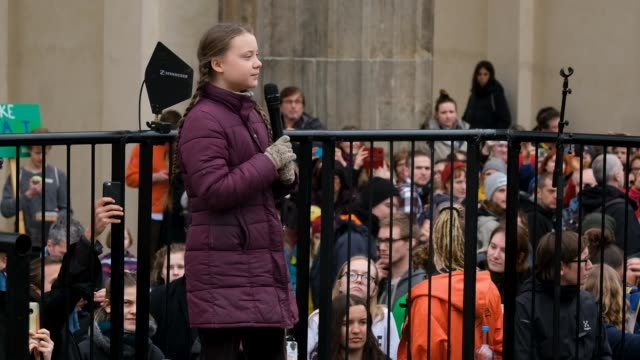 swedish teenager climate activist greta thunberg participates in a fridays for future march on march 29 2019 in berlin germany thousands of pupils... - klima stock-videos und b-roll-filmmaterial