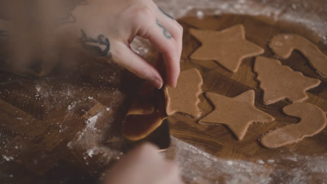 swedish woman baking gingerbread cookies for christmas - christmas decoration stock videos and b-roll footage