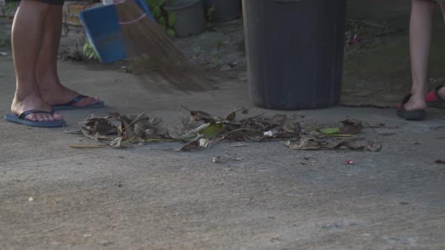 vídeos y material grabado en eventos de stock de barrer las hojas secas en el suelo - barrer