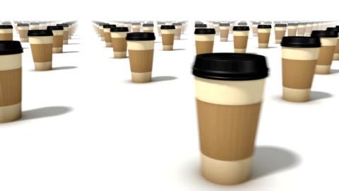 vidéos et rushes de sweeping across endless coffee cups front - infini