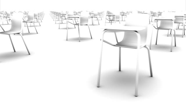 sweeping across endless school chairs front (white) - conformity stock videos & royalty-free footage