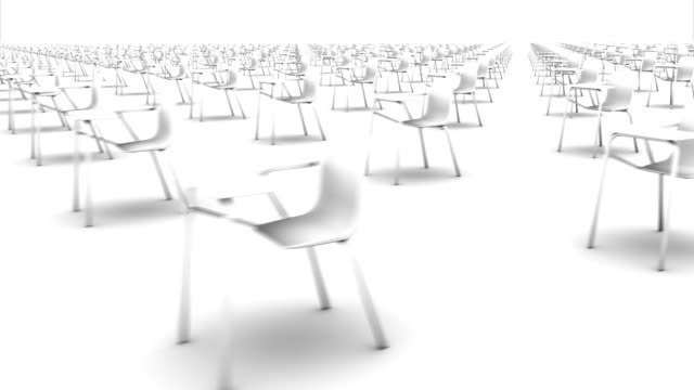 sweeping across endless school chairs side (white) - seminar stock-videos und b-roll-filmmaterial