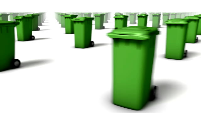 sweeping across endless trash cans front (green) - wastepaper bin stock videos & royalty-free footage