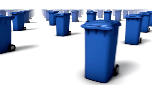 sweeping across endless trashcans front (blue) - wastepaper bin stock videos & royalty-free footage