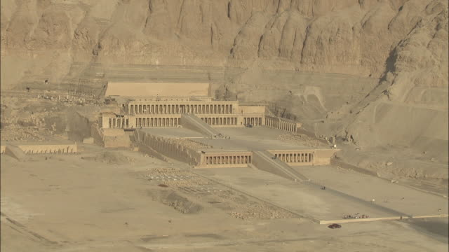 Sweeping aerial of the Mortuary Temple of Queen Hatshepsut