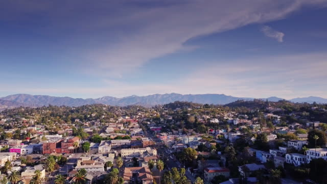 Sweeping Drone Shot of Echo Park, Los Angeles